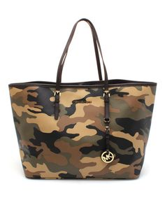 Love this Brown Camouflage Jet Set Travel Leather Tote by MICHAEL Michael Kors on #zulily! #zulilyfinds