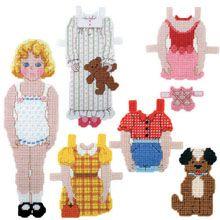 Craftways Plastic Canvas Kits - Sarah & Scooter Paper Doll Kit Plastic Canvas Kit - Herrschners