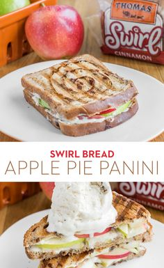 Swirl Bread Apple Pie Panini: Pie? Panini? This delectable dessert made with Thomas' Cinnamon Raisin Swirl Bread is both! Mix together cream cheese and honey, layer Granny Smith and Gala apples and top with a scoop of butter pecan ice cream for the perfect sweet treat.