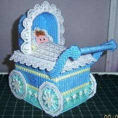 Details about Plastic Canvas Tissue Box Cover Baby Carriage