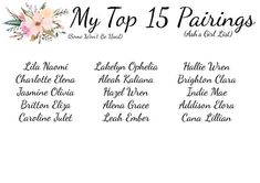 Ash's Top 15 Pairings (Girls) P Baby Names, Middle Names For Girls, Unisex Baby Names, Cute Names, Kid Names, Beautiful Baby Girl Names, Baby Girl Names Unique, Unique Baby, Baby Love