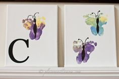 Plain Vanilla Mom: Baby Butterfly Footprints & Made With Love Linky