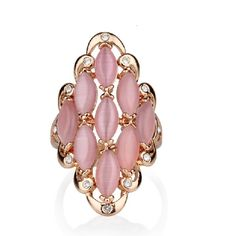 Opal And Crystal Decorated Sweet And Luxurious Women's Ring - USD $45.95