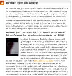 El artículo no se acaba con la publicación / @blogforpapers | #sciencecommunication