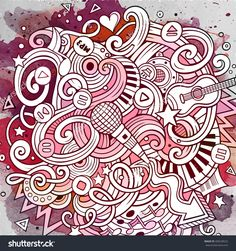Cartoon Hand-Drawn Doodles Musical Illustration. Vintage Watercolor Detailed, With Lots Of Objects Vector Background - 408238522 : Shutterstock