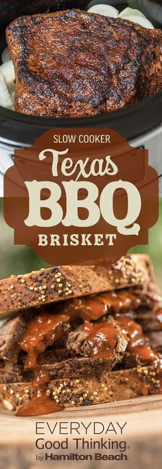 Slow Cooker Texas BBQ Brisket - this is a good vinegar based sauce. The girls would prefer it a little sweeter. Slow Cooker Brisket, Bbq Brisket, Crock Pot Slow Cooker, Crock Pot Cooking, Slow Cooker Recipes, Cooking Recipes, Texas Brisket, Smoked Brisket, Crock Pots