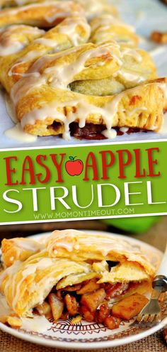 This easy Apple Walnut Strudel is the BEST way to wake up this fall! Perfect for breakfast, brunch or even dessert, this sweet treat is impossible to resist! // Mom On Timeout #applestrudel #applerecipe #apples #apple #applerecipes #strudel #breakfast #dessert #baking #fallbaking Best Apple Desserts, Apple Cake Recipes, Delicious Desserts, Snack Recipes, Dessert Recipes, Cooking Recipes, Snacks, Strudel Recipes, Pastry Recipes