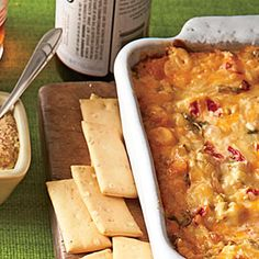 Baked Tex-Mex Red Pepper Cheese Dip - Easy Dip Recipes for Bowl Games - Southern Living Appetizer Dips, Yummy Appetizers, Appetizer Recipes, Snack Recipes, Cooking Recipes, Party Recipes, Cheese Dip Recipes, Cheese Stuffed Peppers, Football Food