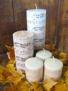 Easy to Make Romantic Sheet Music Decorating Projects- DIY Vintage Decor Ideas Sheet Music Candles. Vintage Sheet Music, Vintage Sheets, Diy Vintage, Vintage Decor, Vintage Furniture, Diy Candles, Pillar Candles, Candels, Candle Decorations
