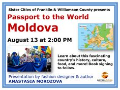 Learn about this fascinating country's history, culture, food, and more! Presentation by fashion designer and author, Anastasia Morosova, book signing to follow.