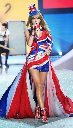 Taylor Swift in her stunning British flag dress