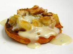Receta de tapa de calabaza con nueces y gorgonzola con cebolla caramelizada