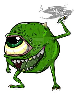 420 art | mike wazowski 420 monsters inc by snareclothing digital art drawings ...