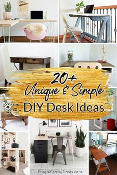 There are so many unique home office desk ideas to make yourself! We're planning three desks in our Home Office and Music Room and I've collected so many great DIY desk ideas to inspire. Included are foldaway desks, IKEA desk hacks, upcycled desks from doors and tables, wall-mounted desks, desks from crates and pipes and more! #DIY #DIYDesks #OfficeIdeas Wall Mounted Desk, Wall Desk, Fold Away Desk, Modern Wood Desk, Desks Ikea, Diy Standing Desk, Plywood Desk, Crate Desk, Handmade Desks