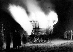 Traditional Burning of a Gypsy Wagon at a Gypsy Funeral