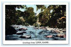 Greetings from Linn Kansas KS 1928 Postcard River Stream