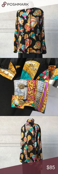 Vintage Versace Style Print Silk Ballooning Shirt Very cool Classic gilded ballooning Silk Blouse. Runs a small size 4. Is decorated with golden balloons on a black silk. Tops Blouses