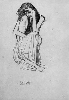 Gustav Klimt / Drawings 1 / Studie für die Figur 'Nagender Kummer' im… Gustav Klimt, Klimt Art, Life Drawing, Drawing Sketches, Painting & Drawing, Sketching, Pencil Drawings, Franz Josef I, Illustrations