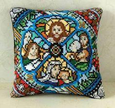 Stained Glass Mini Cushion Cross Stitch Kit - Sheena Rogers Designs