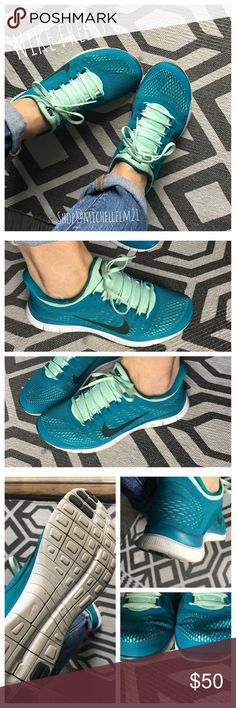 Nike free run tennis shoes Nike Free Run 3.0. Teal and mint green! In great condition. Worn a couple times. Size 9.  Bundle in my closet and save. No Paypals or trades. I ship same day or next day almost always. Thanks for checking out my closet. Nike Shoes Sneakers