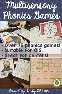 75 multisensory phonics activities and games, suitable for Orton-Gillingham lessons, Orton-Gillingham activities, dyslexia activities and other reading interventions. Dyslexia Activities, Dyslexia Teaching, Teaching Phonics, Preschool Phonics, Jolly Phonics, Learning Disabilities, Reading Games, Reading Strategies, Teaching Reading