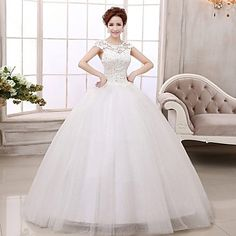 Ball+Gown+Petite+Wedding+Dress+Floor-length+Scoop+Lace+/+Satin+/+Tulle++–+USD+$+119.99
