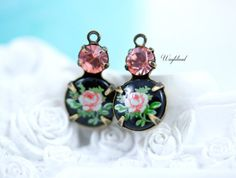 Rose Peach & Pink on Black Vintage Floral Stone Swarovski Crystal 15x9mm Set Stones Earring Charms Connectors Drops Brass Settings - 2