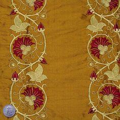 Silk Embroidered Floral Vine Shantung