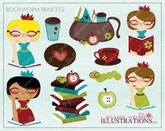 Bookworm Princess Cute Digital Clipart for Card Design, Scrapbooking, and Web Design. $5.00, via Etsy.