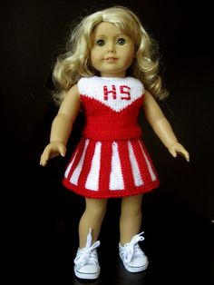 Cheerleader doll outfit in red & white