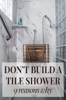 Learn 9 reasons you shouldn't build a tile shower, and better alternatives to cut your costs and eliminate worries about mold or leaking. For shower design advice and wholesale direct wall panel or shower base pricing call Small Shower Remodel, Cheap Bathroom Remodel, Cheap Bathrooms, Bath Remodel, Small Bathroom, Master Bathroom, Bathroom Remodeling, Master Baths, Bathroom Shower Designs