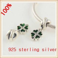 Fits European Original Bracelet Sterling Silver Jewelry Beads European Women Charm Lucky Clover DIY Fashion Jewelry