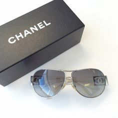 Authentic Chanel Sunglasses Does not come with case but comes with a box. There is a crack on the left lens (see picture). Temples are clear. There's some green developing on the inside of the Chanel pieces but can't see when you have them on. Outside looks good. Minor scratches here and there CHANEL Accessories Sunglasses