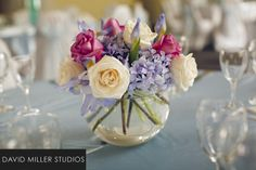 wedding centerpieces made with lavender an purple and white flowers - Google Search
