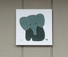 Sitting Elephant #4 Fabric Wall Art by CottonwoodCove on Etsy