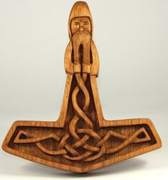 carved wood Mjölnir