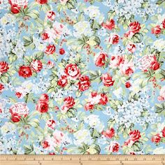 Simply+Chic+Rose+Garden+Sky+Blue from @fabricdotcom  Designed+by+Anna+Stuart+for+Benartex,+this+cotton+print+fabric+is+perfect+for+quilting,+apparel+and+home+decor+accents.+Colors+include+sky+blue,+shades+of+green,+pastel+yellow,+brown+and+shades+of+pink+and+red.