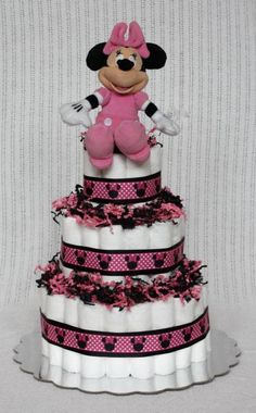Minnie Mouse Diaper Cake by BabyBootyDiaperCakes