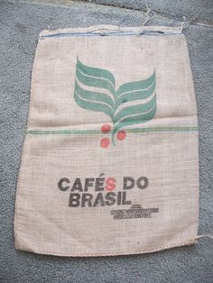 Coffee Burlap Sack Bag - Cafes Do Brazil. $4.50, via Etsy.