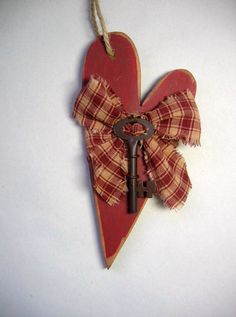 Wood Cutout Primitive Hanging Heart with Key by barbsheartstrokes,