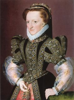 Portrait of a Lady identified as Christina of Denmark, Dowager-Duchess of Milan and Lorraine, 1568-1572, by Anonymous French artist-Beautiful lower sleeves! I love everything about this gown.