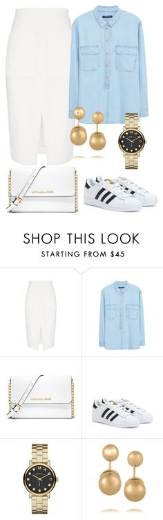 """Pencil Skirts and Sneakers"" by juliasab on Polyvore featuring L'Agence, Violeta by Mango, MICHAEL Michael Kors, adidas, Marc by Marc Jacobs and Kenneth Jay Lane"