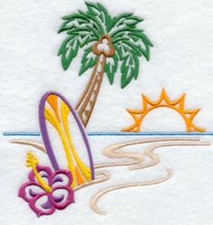 Tropical Beach Surf Towels Embroidered Hand Bath Towel Sets Summer Ocean