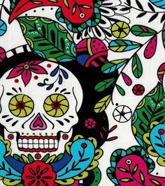 Keepsake Calico™ Cotton Fabric-Coloring Book Skulls