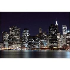 Manhattan Skyline at Night, New York City II Photography by Eazl, Size: 24 x 16, White