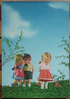 1950s Kathe Kruse 2 Girl 1 Boy Dolls Telling A Secret Postcard Käthe   eBay