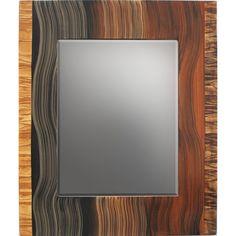 Grant Noren Tiger-Stripe Border Beveled Wood Mirror, Artistic Artisan Designer Mirrors