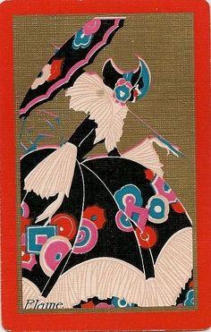 Swap Playing Cards 2 single Deco Vintage  named Lady Elaine