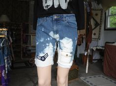 Upcycled Bleached Frayed Girls Plus/Womens Small Blue Jean Denim by LandofBridget, $15.00