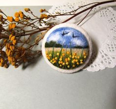 Needle felted brooch Needle felted brooch with embroidery Wool felt broochYellow Flower brooch Handmade jewelry Gift idea Felted landscapes